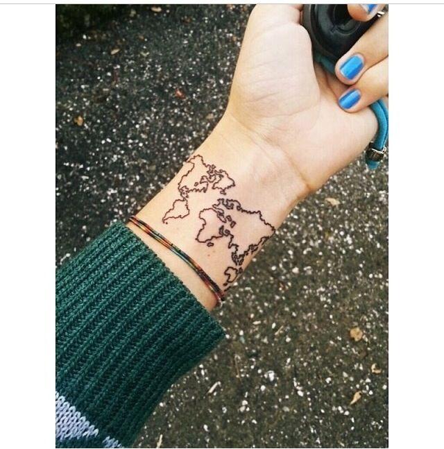 82 best tattoos images on pinterest tattoo ideas design tattoos world map tattoo gumiabroncs Choice Image