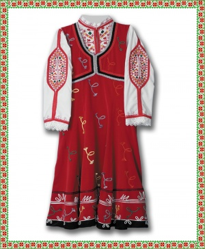 Traditional Women's Dobrudjan costume richly decorated with braids Bulgaria