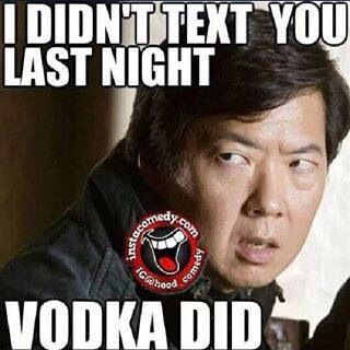 I didn't text you last night. Vodka did.  #leslie #chow #LeslieChow #hangover