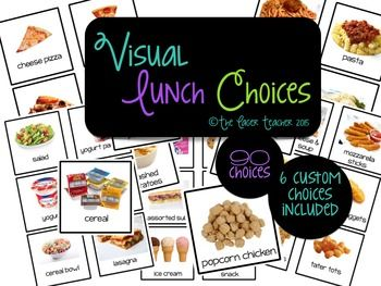 90 food visuals for your lunch sign up center! Ideal for struggling readers, early elementary education classrooms and special education classrooms. These can also be used on word walls, vocabulary walls and in speech/language lessons. If you purchase this product and find that there is a lunch choice that your school offers that is not included, please email me and I will send you up to 6 custom lunch choice cards!