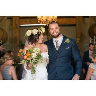 Throwback to one of our favourite weddings last year! One of the happiest couples made for a perfect wedding!    #regram  Gorgeous Jess looks amazing in her flower crown of Sahara roses leaving @wandinvalleyestate's Barn @chicartistry @sweetphotograpy #jade