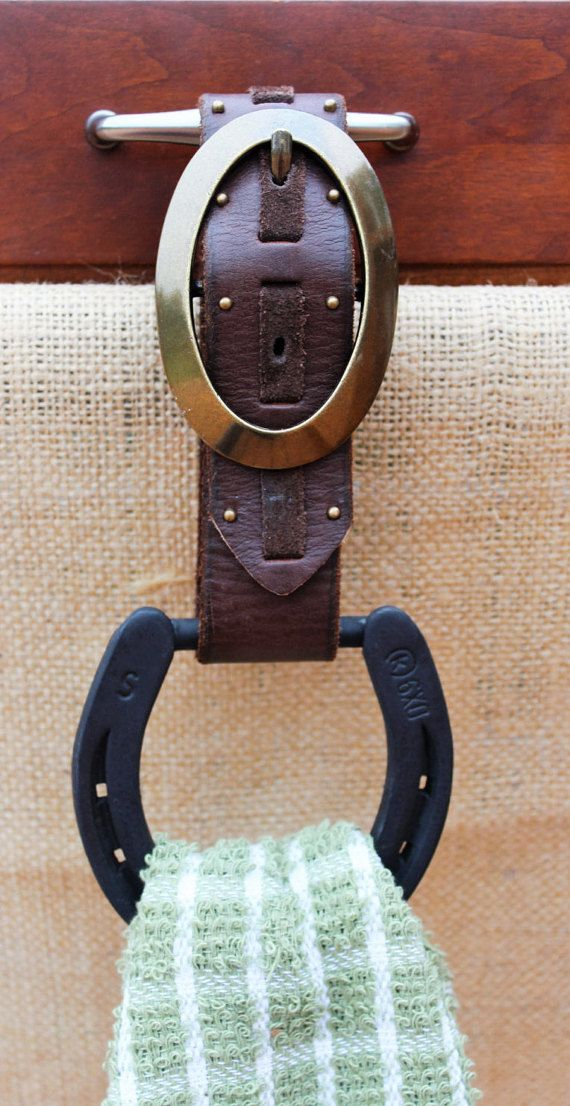 Horseshoe Kitchen Towel Holder by MorethanSquares on Etsy Super fun! If I ever get that home in the country!! #western #country #horseshoes #towel #holder #belt #Buckle