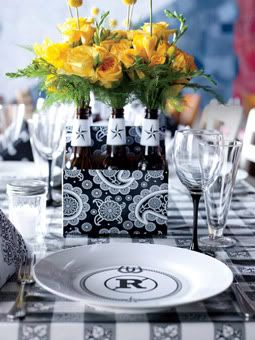 Turn a 6 pack of beer into a wedding centerpiece...finally something to do with all those empty 6 packs and beer bottles!