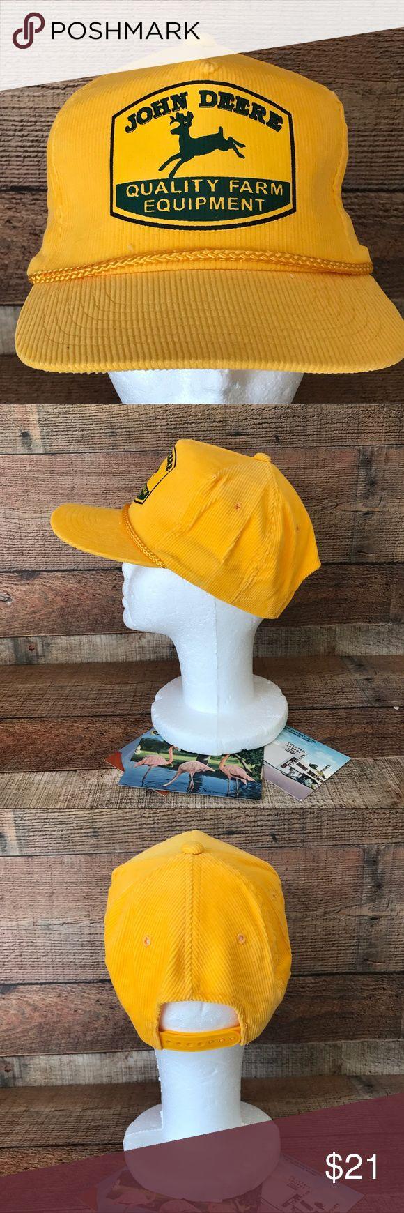 John Deere Vintage Yellow SnapBack Trucker Hat Excellent Condition John Deere Accessories Hats