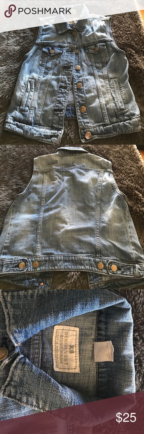 J Crew Denim Vest I am selling a used denim vest from J Crew, it is stain and hole free, I've had it for a couple of years and don't really wear it much, it's great for layering. J. Crew Jackets & Coats Vests