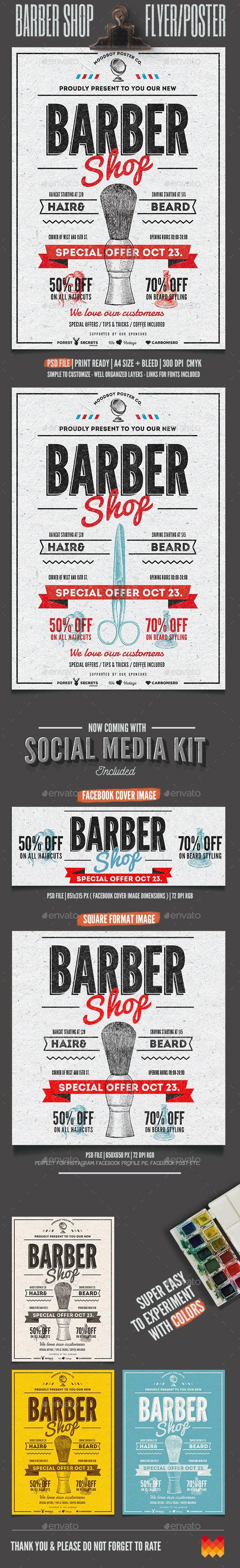 Barber Shop Vintage Flyer / Poster Template #design Download: http://graphicriver.net/item/barber-shop-vintage-flyerposter/12850611?ref=ksioks