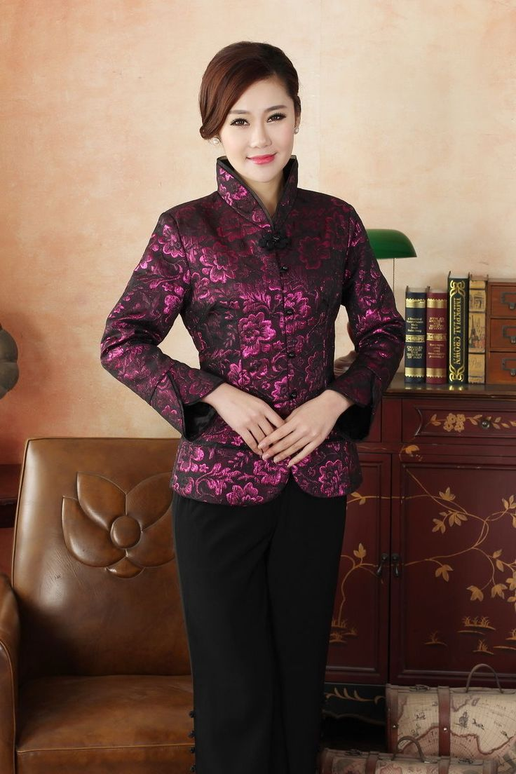 Fuchsia Red Chinese Silk/Satin Embroider Women's Evening Jacket/Coat 6-16