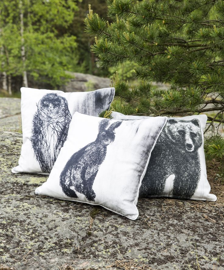 Fauna Cushion Covers- Rabbit, bear & owl |  | Gorgeous Finnish animal figures decorate Fauna pillow cases designed by Lasse Kovanen.