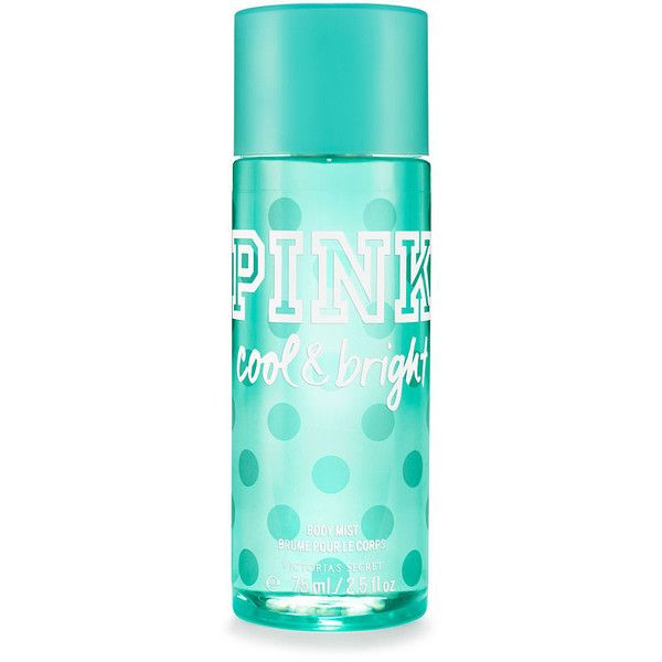 PINK Travel-size Cool & Bright Body Mist ($10) ❤ liked on Polyvore featuring beauty products, fragrance, beauty, perfume, filler, print, perfume fragrance and travel size perfume