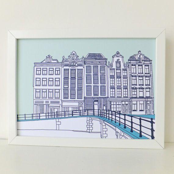 Amsterdam Print in Mint green £15