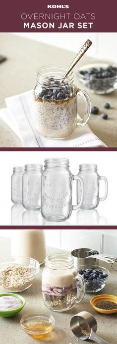 Artland 4-pc. Mason Jars,  Great to make Overnight Oats  #ad