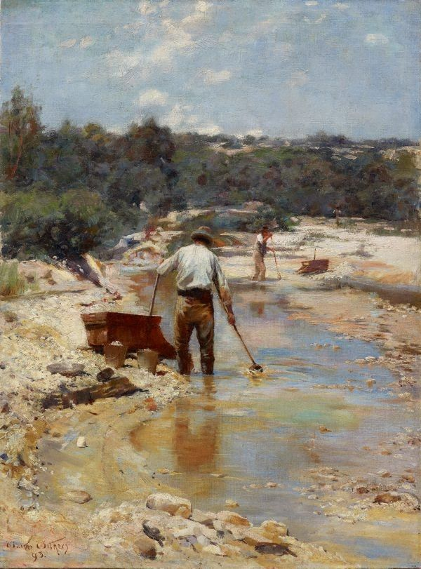 Art Gallery of NSW: An image of Seeking for gold - cradling by Walter Withers