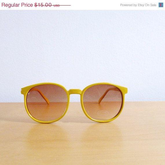 AWAY SALE Code In Shop - Vintage 80's Sunglasses Yellow Lemonade