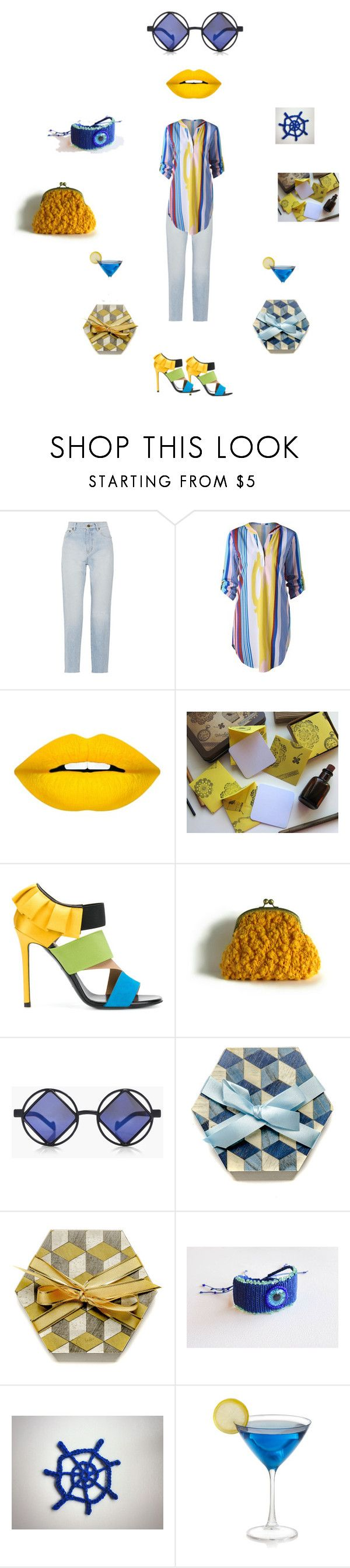 """Yellow and Blue"" by einder ❤ liked on Polyvore featuring Yves Saint Laurent, Forever 21, Emilio Pucci and Boohoo"