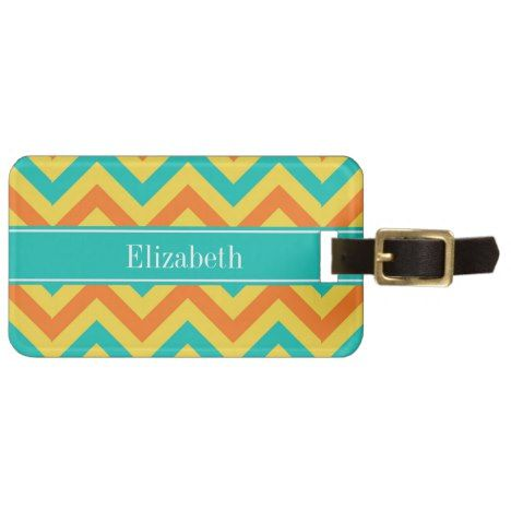 Pumpkin Pineapple Teal LG Chevron ZigZag Monogram Luggage Tag #chevron #pattern #accessories
