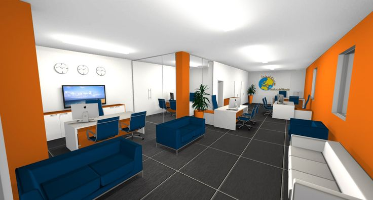 Modern interior design - Travel Agency, white desks, orange modesty panel, low cabinets in orange and white, blue chairs with metal structure, white and blue sofas, glass partitions, black ceramic floor - Agenzia di viaggi, scrivanie bianche, pannelli frontali arancioni, mobile basso arancione e bianco, sedie blu con struttura in metallo, divanetti blu e bianchi, pareti in vetro, pavimento in ceramica nera