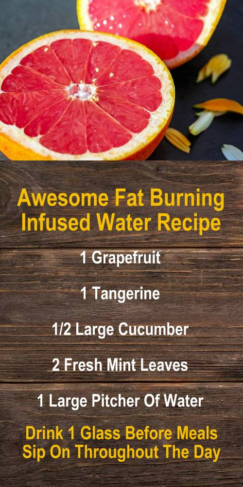 Awesome Fat Burning Infused Water Recipe: 1 Grapefruit, 1 Tangerine, 1/2 Large Cucumber, 2 Fresh Mint Leaves, 1 Large Pitcher Of Water. Amplify the effects by using alkaline rich Kangen Water; the hyd