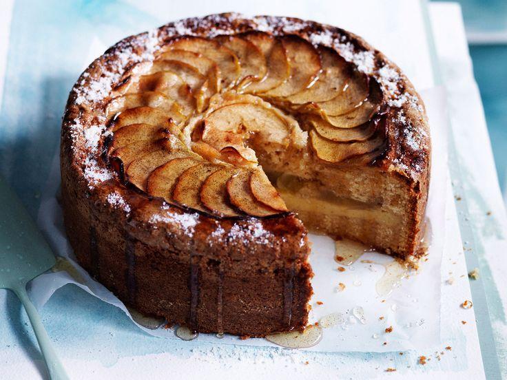 Apple tea cake with custard