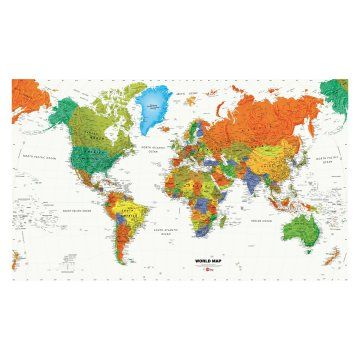 World Map Wallpaper Mural 10.5W x 6H ft.