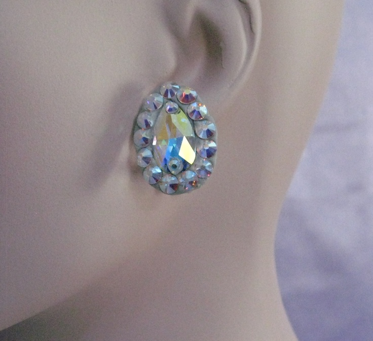 Latin Dance Earrings: Swarovski Crystal Ballroom Pear Earrings
