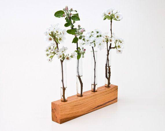 Wood Vase Decorative Bud Vase Wedding Vase FLORENCE door lessandmore, $70.00