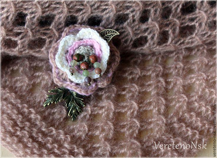 Купить Вязаный ажурный шарф-палантин цвета капучино. - бежевый, капучино, какао, палантин в подарок