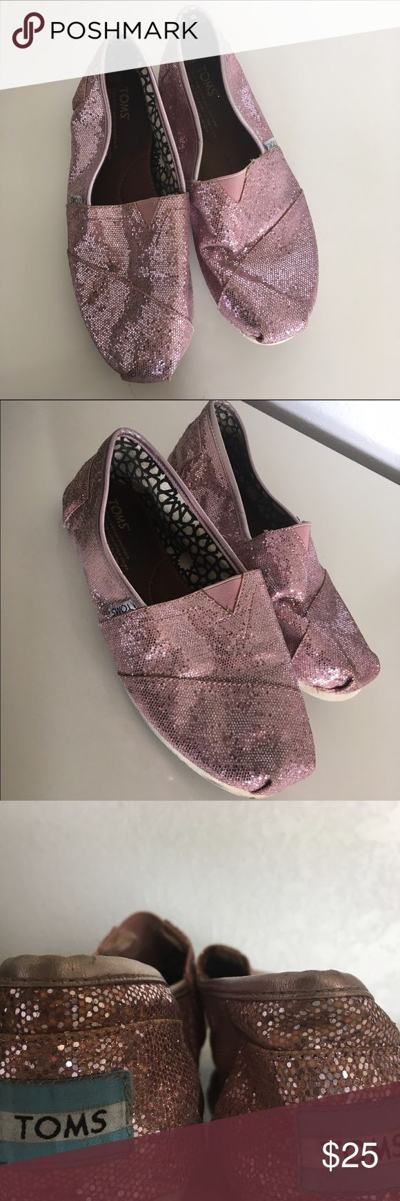 Pink Glitter Toms 💓✨ Light Pink Glitter Toms✨💓 TOMS Shoes Flats & Loafers