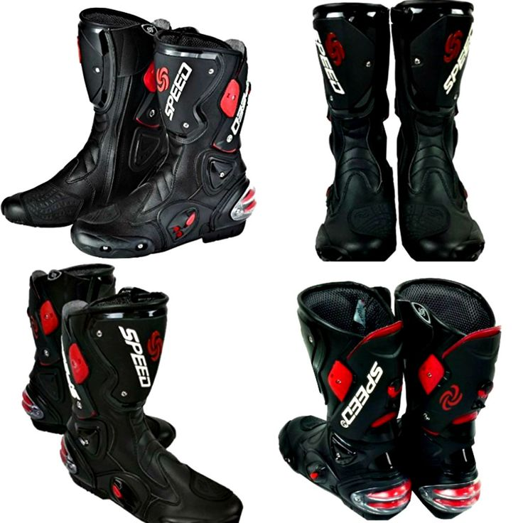The new men's motorcycle racing boots has light weight durable fiber leather that's water and stain resistant with reflective back panel. #bestmotorcyclebootsreviews