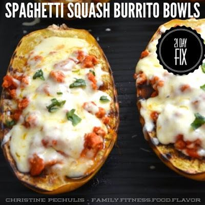 21 Day Fix - Spaghetti Squash Burrito Bowls (2 Green, 1 Red, 1 Blue) // 21 Day Fix // fitness // fitspo // workout // motivation // exercise // Meal Prep // diet // nutrition // Inspiration // fitfood // fitfam // clean eating // recipe // recipes