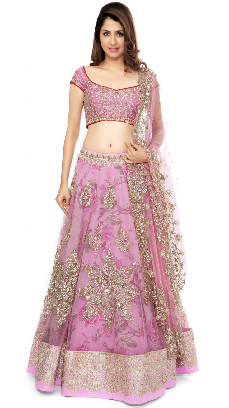 Pink Designer Lehenga Set with Floral Underlay