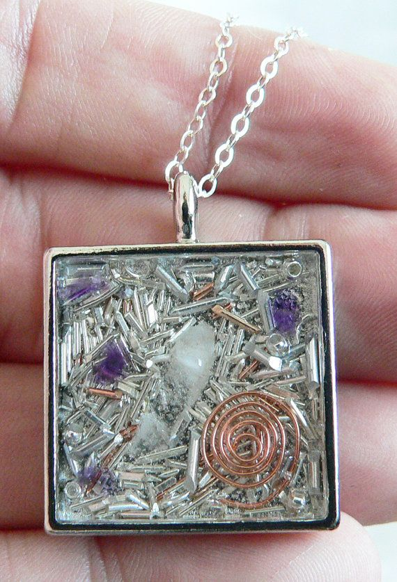 Orgone Energy Pendant Silver Square w/Amethyst by LKSoriginals
