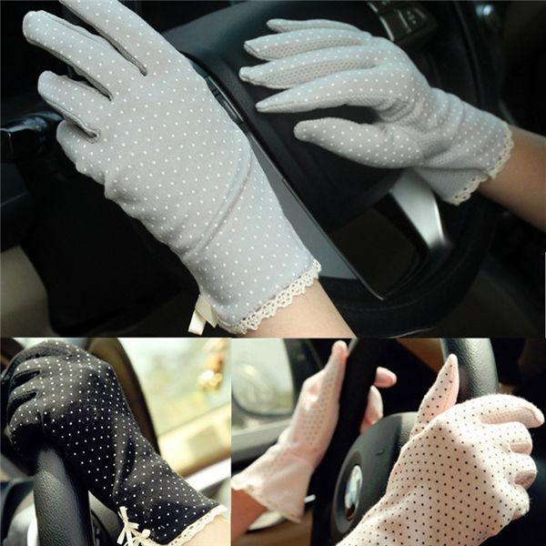 Women Dot Print Design Short Gloves Driving Sunscreen Gloves online - NewChic