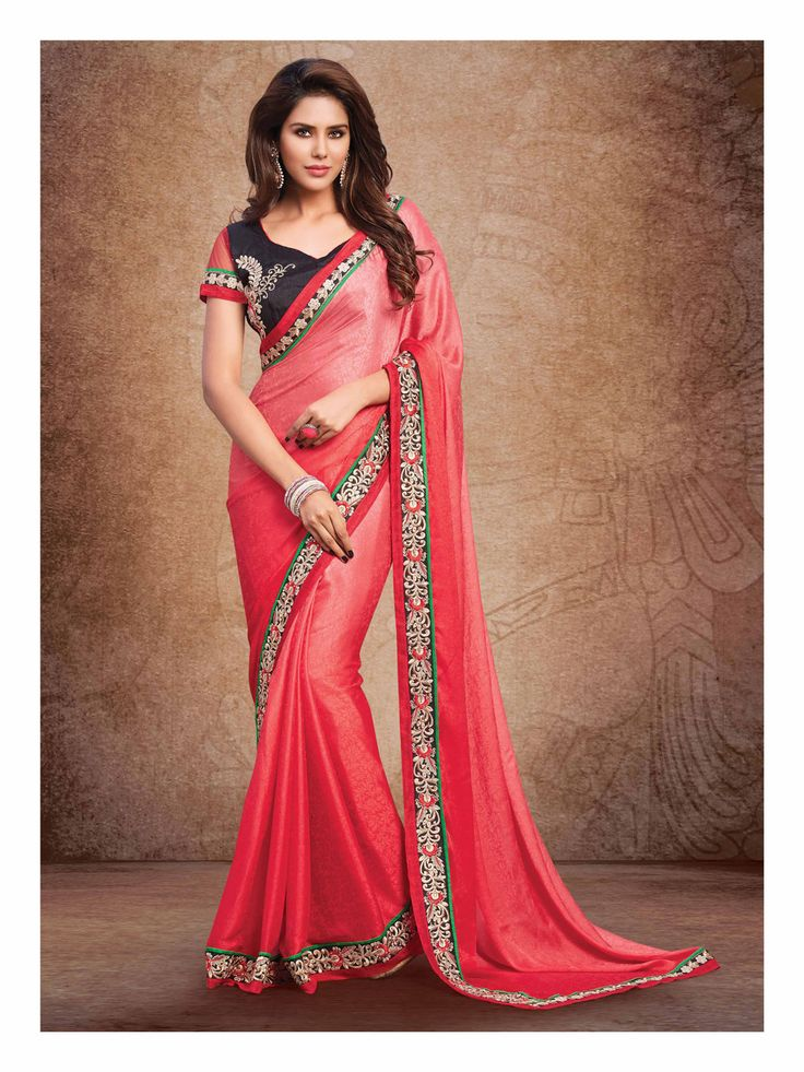 Peach Shimmer Party Wear Saree 61404