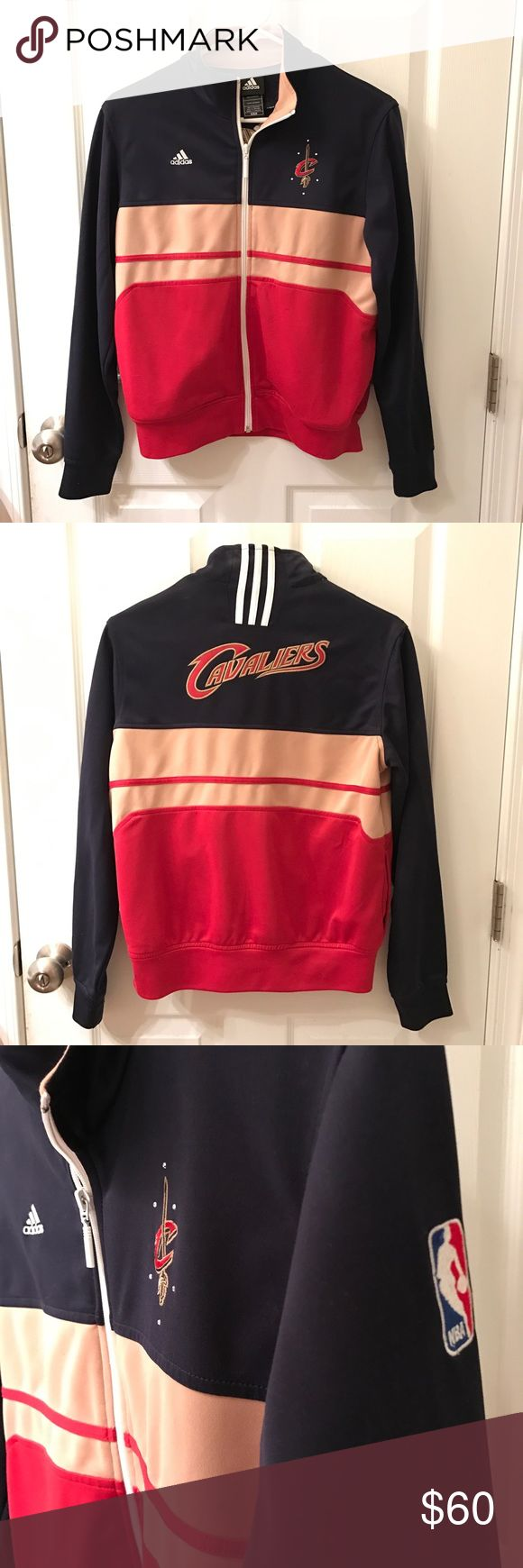 """Official NBA Cleveland Cavaliers Adidas Jacket Gemstones around the """"C"""" on the front. So cute! Only worn once or twice. No wear and tear at all. Just don't live in Cleveland anymore to wear it. Adidas Tops Sweatshirts & Hoodies"""
