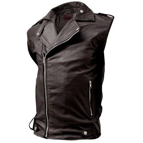Fitted Biker Brown Leather Vest Men's - Quentin
