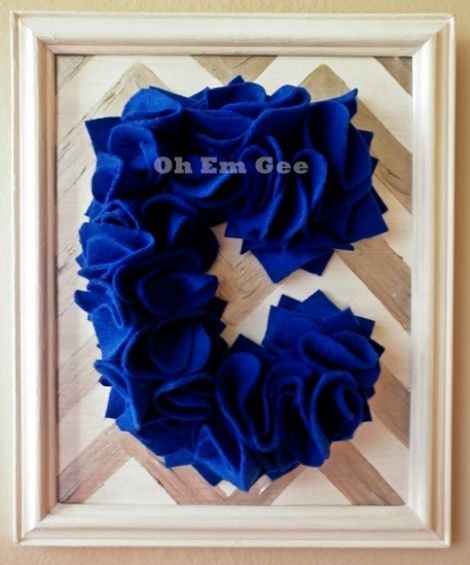 Personalised childrens decor. Ruffled felt letter. recycled and re-painted frame. Hand made www.ohemgee.co.nz