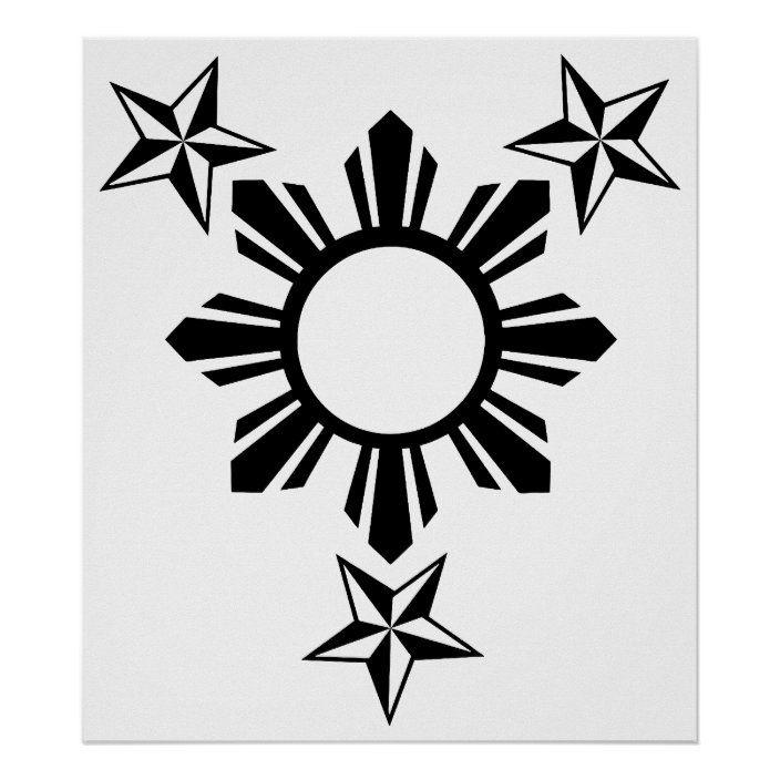 3 Stars And Sun Poster Zazzle Com Filipino Tattoos Traditional Filipino Tattoo Tribal Tattoos