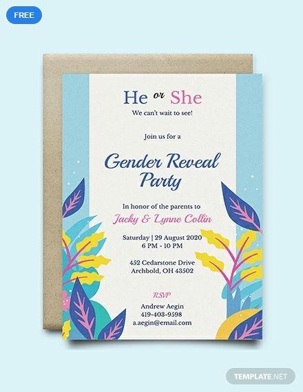 Free Gender Reveal Invitation Printable Party Invitation Design