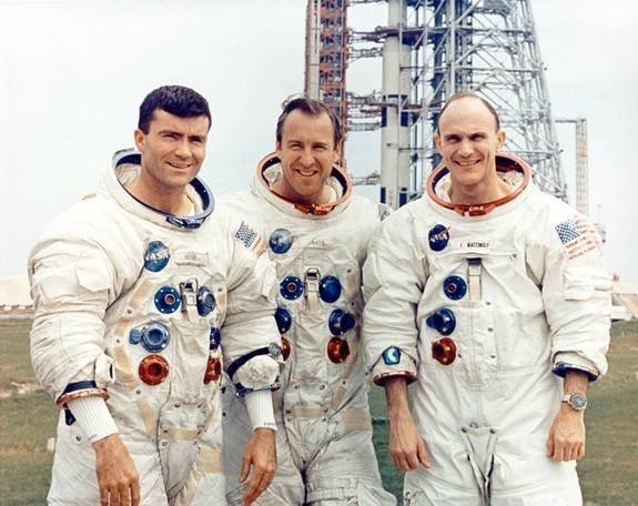 Remembering Apollo 13 - Astronauts Jim Lovell, Jack Swigert and Fred Haise head for Pad 39A and a voyage they will never forget. Apollo 13 was launched to the Moon on April 11, 1970.