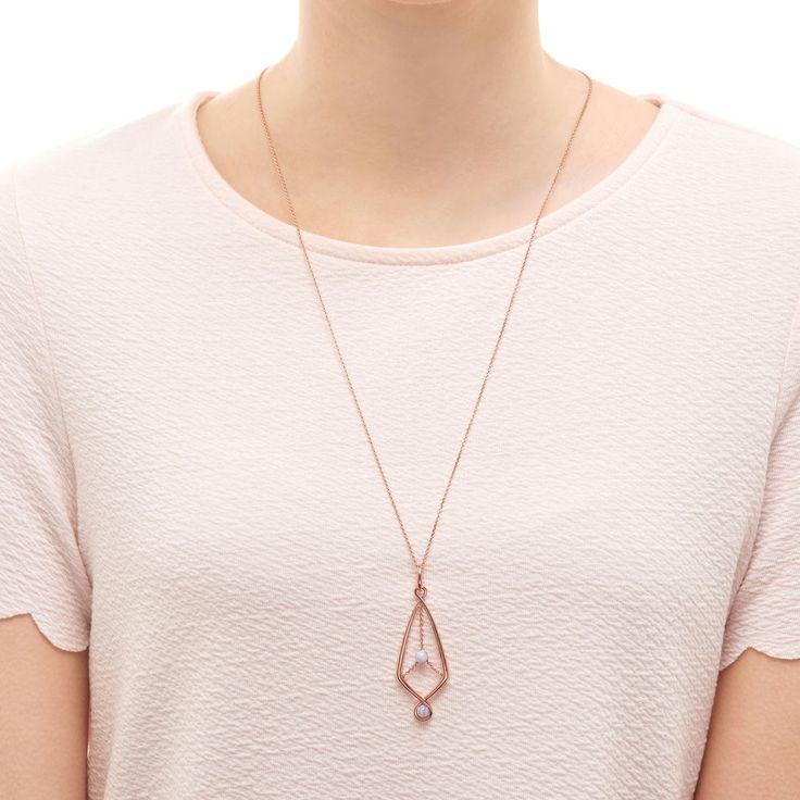 Serpentine 18kt Rose Gold Vermeil & Blue Lace Agate Gemstone Pendant Necklace,
