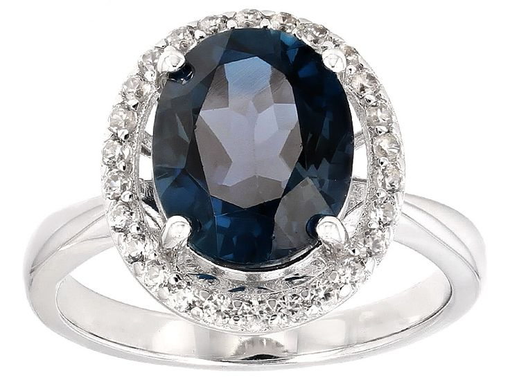 2.60ct Oval London Blue Topaz And .23ctw Round White Zircon Sterling Silver Ring