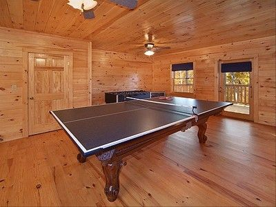 Ping Pong table in Game room that converts to a regulation Pool Table