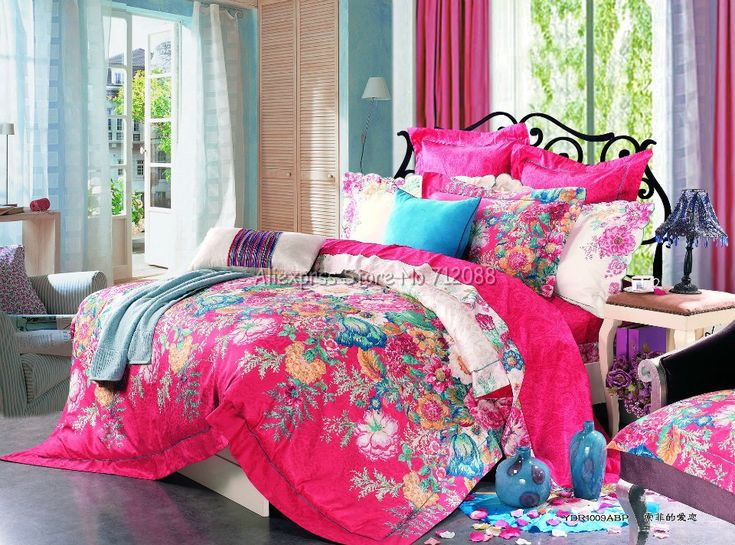 Home Textile Stylish Flower Floral Bright Pink Reactive