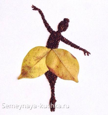 насыпная аппликация из осенних листьев