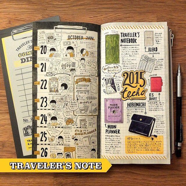 WEBSTA @ enikkii - トラベラーズノートの下敷きみたいな日記。下敷き可愛いねー。来年の手帳も揃いました。右ページのトラベラーズノートの綴り間違えた…(つд⊂) #トラベラーズノート #日記#traveler's note#diary