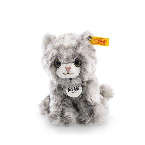 Steiff Minka Kitten Plush, Grey Tabby | Kitten plush toy