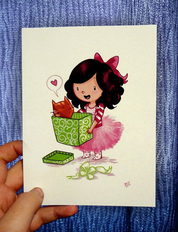 Greeting card - girl and her cat  on Etsy