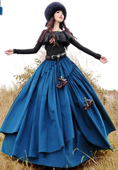 2015 Boshow Autumn And Winter Long Maxi Elastic Waist Layered Skirt With Big Hem For Women Corduroy Bohemian Skirt Hot Sale From Jamp, $79.25 | Dhgate.Com