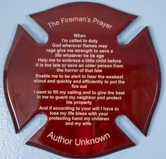 Fireman's  Prayer on Maltese Cross 12 inch by by EtchingMemories, $39.99
