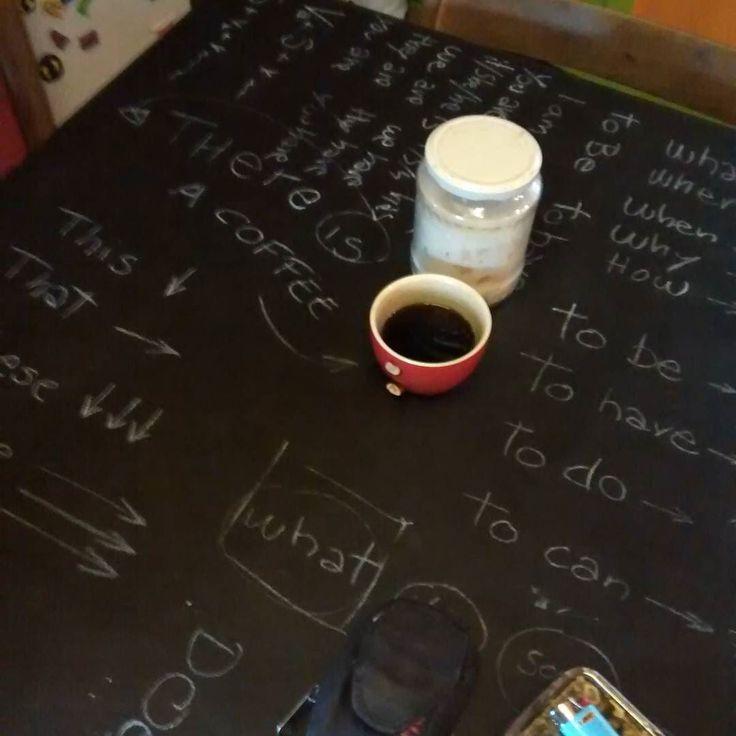"""English revision with the younger son on the chalkboard-kitchen table of the tiny Farm #microfarm #dailylife #tinyhouse  Ripassando inglese con il """"piccolo"""" sul tavolo-lavagna della micro fattoria by ortodicarta"""